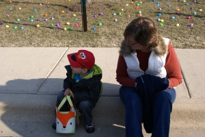 Jamie and Nana waiting patiently for the Easter Egg hunt to commence!
