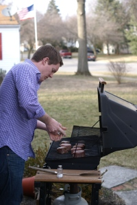 Chris handling the grill.