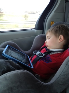 Must have been a busy trip - Jamie fell asleep with the ipad in his lap (a special treat)